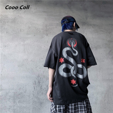 CoooColl T-shirt Fashion Casual New summer Kanye West Justin Bieber 19SS SNAKE Oversize Loose cotton Cartoon ASAP ROCKY TEE Men