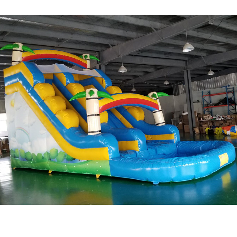Cheap Inflatable New Style Tropical Palm Tree Bounce Slide With Swimming Pool