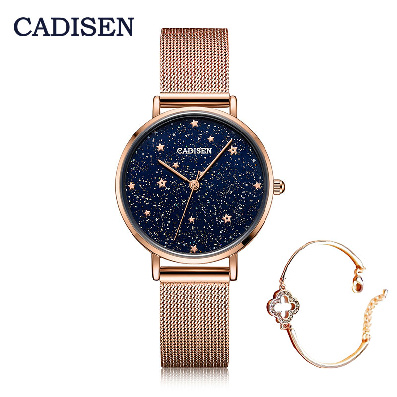 CADISEN Luxury Brand Women Watches Starry Sky Female Clock Quartz Wristwatch Stainless Steel Fashion Ladies Waterproof Watch
