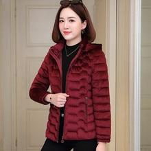 2019 Winter Jacket Women Short Slim Korean Coat Winter Warm Hoodies Coats Parka Female Solid Color Outwear Clothing Plus Size