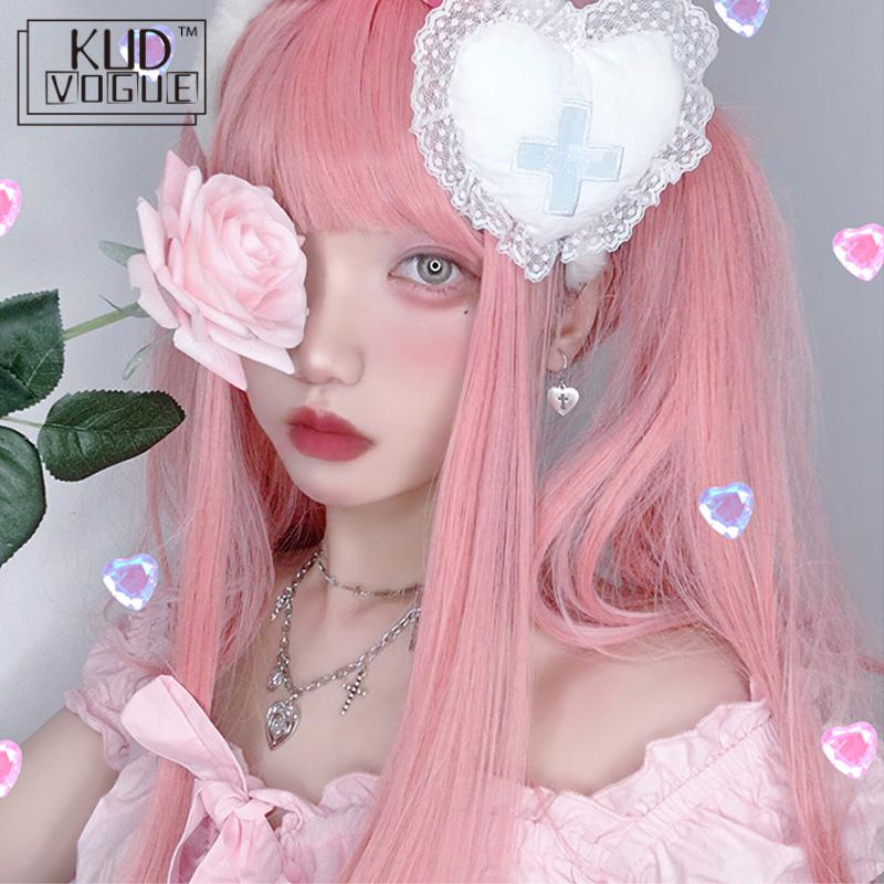 Lolita Harajuku Cosplay Pink Long Straight Wig Hair Heat High Temperature Fiber Synthetic Hair Anime Party Fashion Colourful Wig