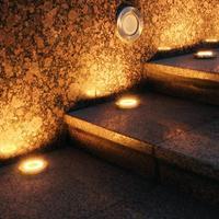 1-4pcs 20LED 태양 묻혀 램프 스파이크 방수 야외 정원 지상 따뜻한 빛 매장 된 계단 램프 지 하 갑판 Lampy