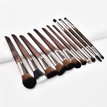 11Pcs Makeup Brushes Set Cosmetic Foundation Powder Blush Eye Shadow Lip Blend Wooden Make Up Brush Tool Kit Maquiagem T11007