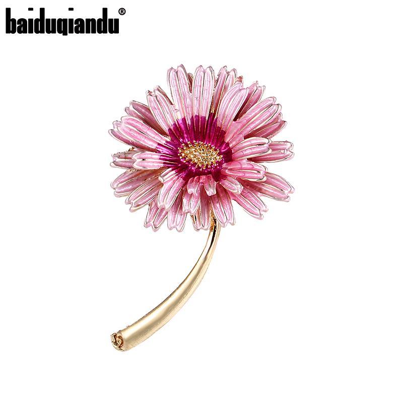 Baiduqiandu nova chegada esmaltado rosa roxo margarida flor broche pinos para roupas femininas jóias acessórios