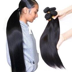 Cheveux brésiliens armure paquets droit 100% cheveux humains 28 30 40 pouces 1 3 4 longs cheveux paquets couleur naturelle Remy Extension de cheveux