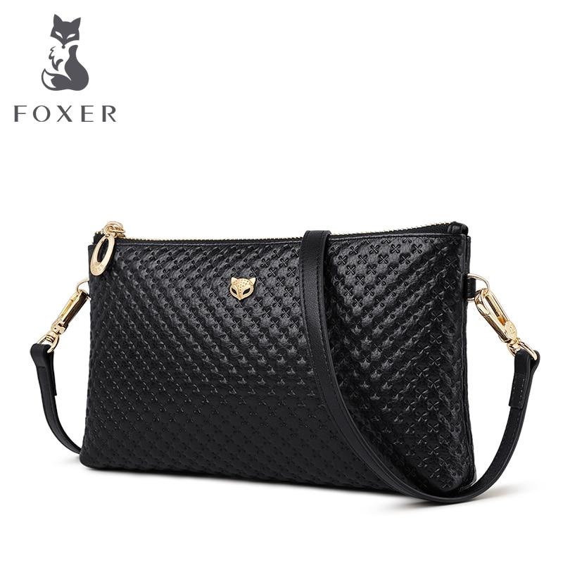 FOXER Brand Genuine Leather Women Crossbody Bags Simple Classic Style Lady Black Messenger Bag Stylish Long Shoulder Strap Bag
