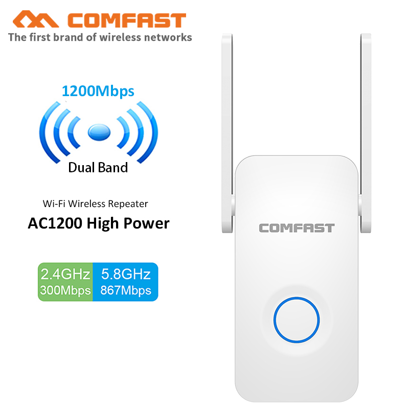 Comfast Home Wifi Router Wifi Repeater 1200Mbps Wi Fi Range Extender AP Roteador 2.4G&5Gh Wifi Booster 2*3dbi Antenna CF-WR752AC