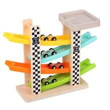 Деревянный четырехтрековый скользящий автомобиль игрушка для