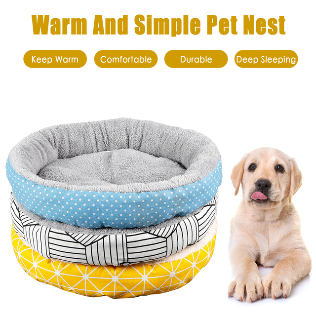 New Pet Cat Dog Soft Warm Round Pet Nest Bed Puppy Soft Warm Round House Sleeping Bed Mat Pad Winter Easy To Clean Drop Shipping