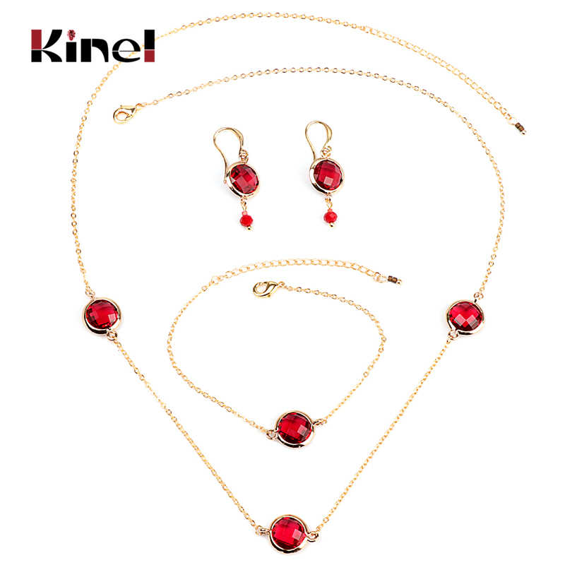 Kinel Luxury Red Crystal Bridal Wedding Jewelry Sets Fashion Women Necklace Earrings And Bracelet Gold Color 3 pcs Boho Jewelry
