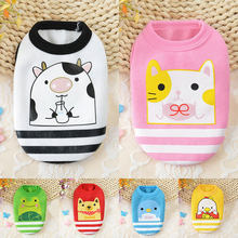 Cute Small Dog Cat Warm Vest Winter Fleece Cartoon Printed Puppy Pet Cat Dog Clothes For Small Medium Dogs T-shirts Size 3XS-S(China)
