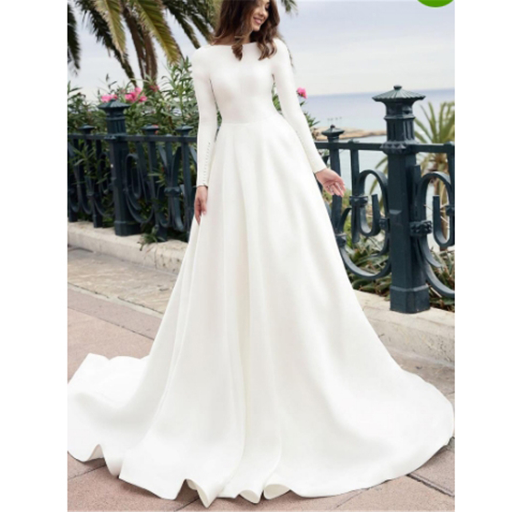 Modest White Satin Backless Beading Ball Gown Robe De Mariee Scoop Court Train Long Sleeves Custom-Made Wedding Dresses 2019