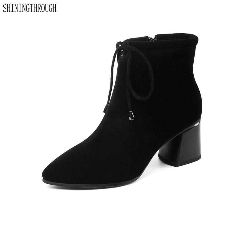 Bottes femme daim cuir bottines talons hauts chaussures femme printemps automne femme bottes grande taille 34-45