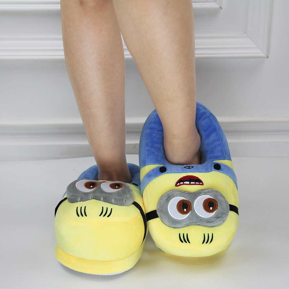 2020 Hot Ssle Cute Cartoon Anime Slippers Cute Minion Plush Indoor Slippers For Adults Women Men Winter Home Slippers image
