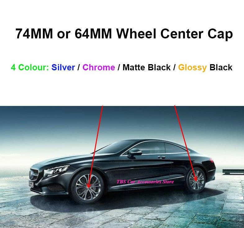 Mercedes Benz C Class Models 75mm Wheel Centre Caps Black and Chrome