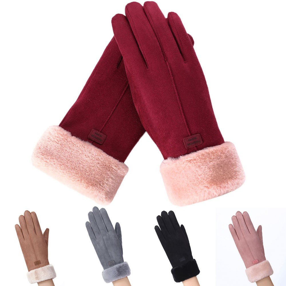 Warm and Fashionable Touch Screen Gloves for Winter in Solid Color Made of Faux Suede Material Suitable for All Kind of Touch Screen Device