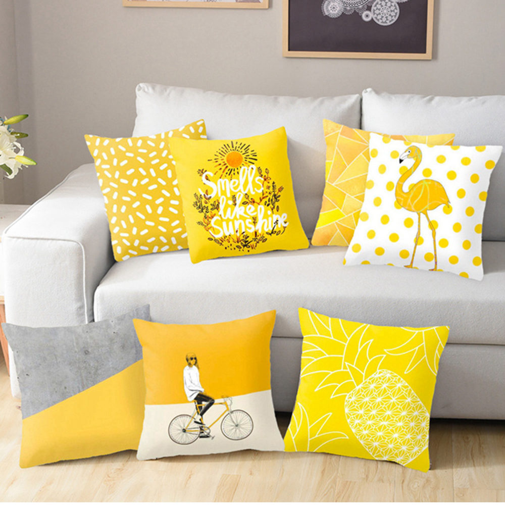 Polyester Geometric Pillow Cushion Yellow Pineapple Pillow Cushion For Sofa Decorative Printed Pillow Seat Chair Cushion 45x45cm