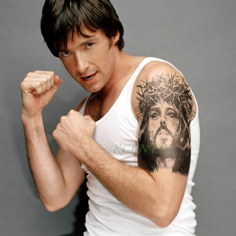 Waterproof Temporary Tattoo Sticker Jesus Fake Tatto Flash Tatoo Leg Arm Back Large Size Body Art For Men Girl Women