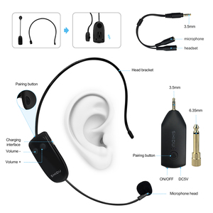 Image 5 - SHIDU U8 UHF Wireless Microphone 3.5/6.5mm Plug Headset Handheld 2In1 Portable Mic Voice Amplifier for Speakers Teacher Guide
