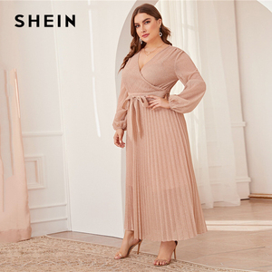 Image 3 - SHEIN プラスサイズ冥衣ネックランタンスリーブプリーツグリマキシドレスの女性の秋ハイウエストラップグラマラスパーティードレス