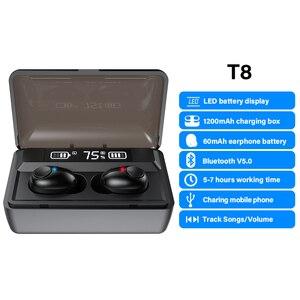 Image 2 - DACOM T8 Bluetooth TWS Tai Nghe Nhét Tai Không Dây Với Microphon, Chuyển Đổi Bài Hát, Đèn Sạc LED Màn Hình Dành Cho iPhone Samsung