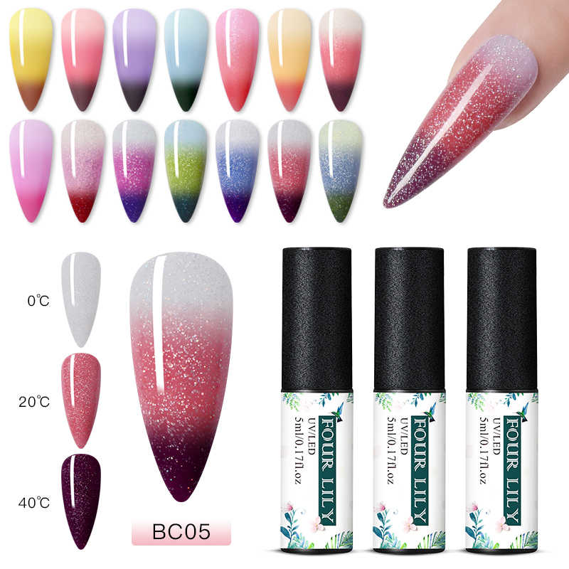 Empat Lily 5 Ml Rainbow Warna Berubah Panas Uv Gel Cat Kuku Hologram Glitter Payet Suhu Nail Art Gel Varnish