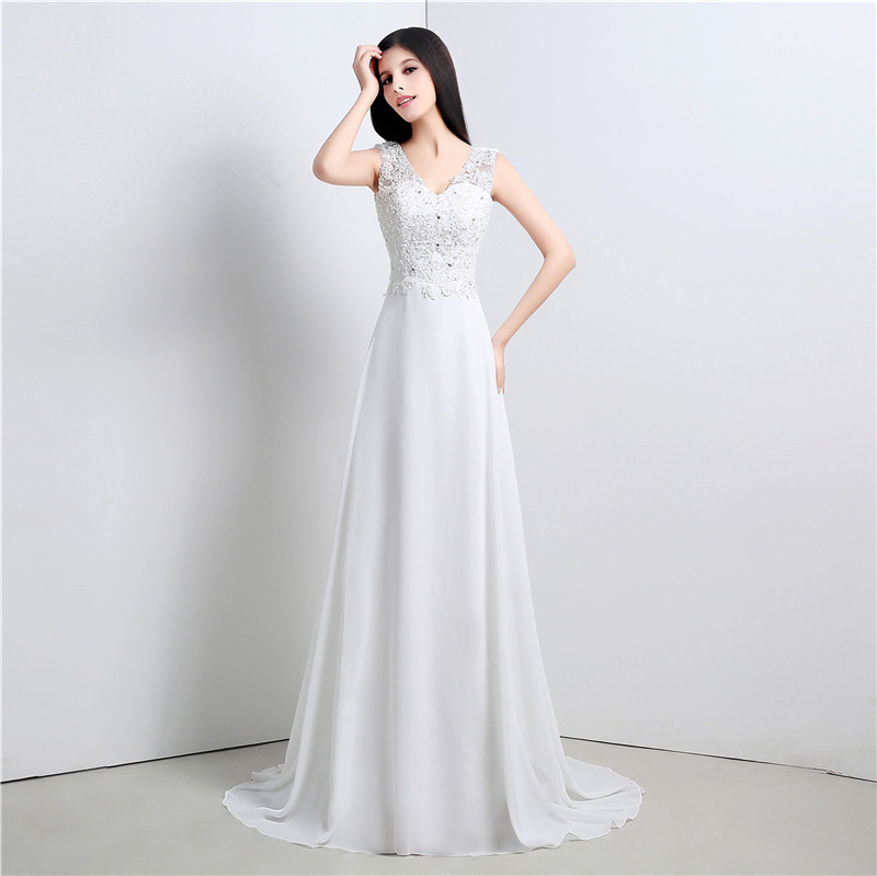 Sexy White Lace V-neck Wedding Dresses Chiffon Beaded A Line Bridal Party Dress Long Plus Size Custom Made In China Gala Gowns