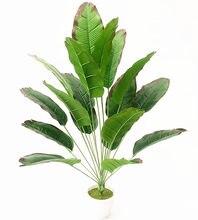 Bananier Tropical en plastique, 18 feuilles artificielles, grandes plantes vertes rares, fausses feuilles de palmier d'intérieur en pot, décoration d'hôtel, de bureau et de maison, 80CM