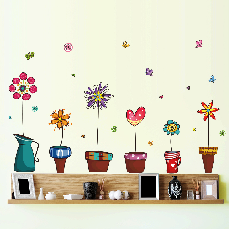 [Dreamarts] Removable Retro Bonsai Wall Sticker Cartoon Flower Decals for Living Room Baseboard Home Decoration