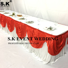 Wholesale White Color Ice Silk Table Skirt With Colors Swag Drapery Wedding Cloth Skirting For Event Banquet Decoration