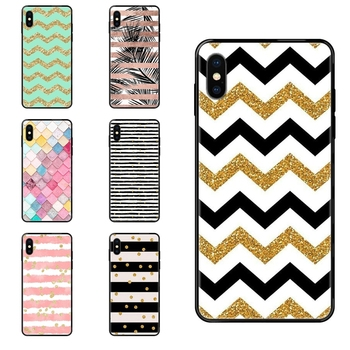 Black Soft TPU Luxury Fashion Phone Case Stripe Gold Glitter Chevron Wave Wavy Pattern Classic For Samsung Galaxy S5 S6 S7 S8 image