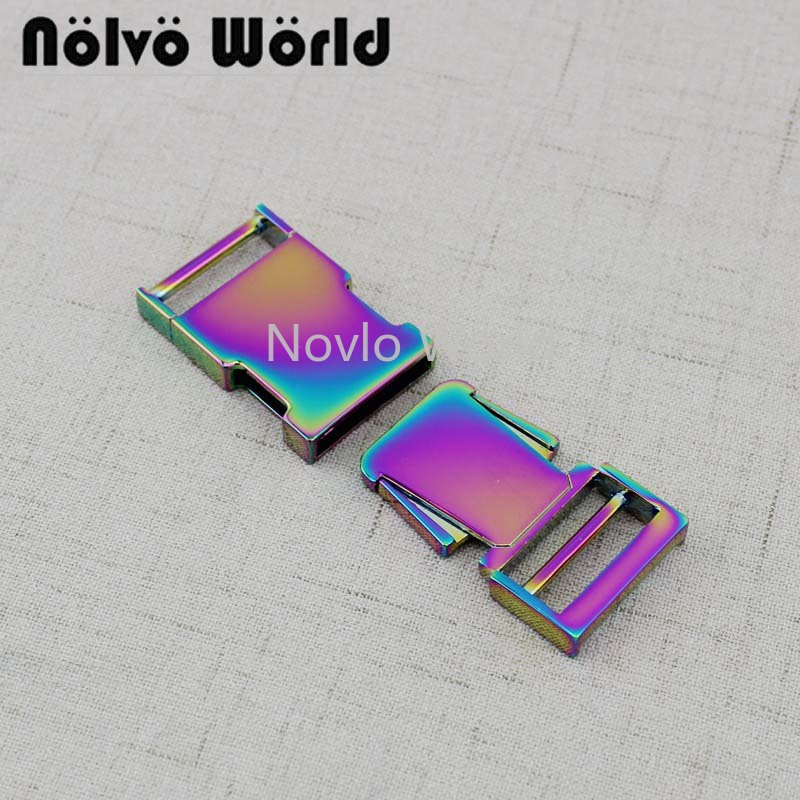 Nolvo World 3-20-50pcs 65X25mm 1 Inch Iridescent Rainbow Finish Side Release Buckle For Dog Pets Dollar Accessories