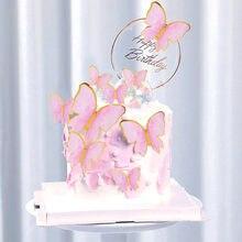 Mutlu doğum günü pastası Toppers Geomertic pembe altın kelebekler kek Toppers bebek duş düğün doğum günü Cupcake kek Topper