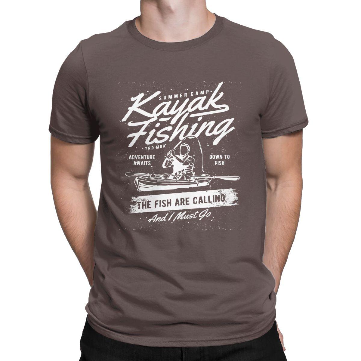 Kayak Fishing The Fish Are Calling T Shirts Men Humorous T-Shirt Round Neck Funny Fisherman Tees Short Sleeve Clothing Plus Size
