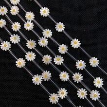 Colgante de gota de aceite de concha de mar Natural, cuentas de flor de Sol de 10mm, para fabricación de joyas, collar, pulsera y pendientes, color blanco