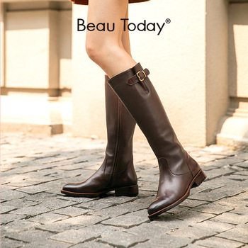 BeauToday Long Boots Women Genuine Cow Leather Round Toe Zipper Closure Knee High Boots Winter Fashion Lady Shoes Handmade 01215 beautoday fashion ankle boots women calfskin leather round toe front zipper closure autumn winter lady shoes handmade 03808