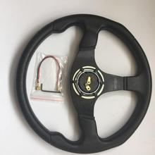 14inch 350mm Deep Corn DriftingLeather Steering wheel Universal Aluminum+pu Frame 5-Hole Wheel