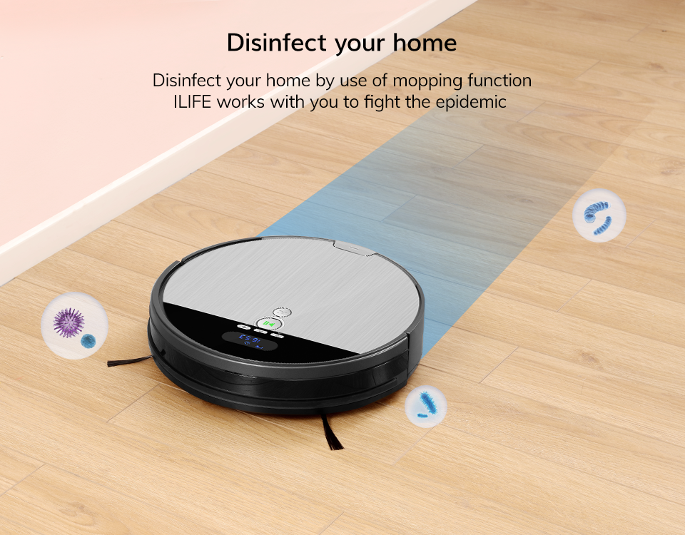 H4275a692a5424345a696357402d250f0C ILIFE V8s Robot Vacuum Cleaner Sweep&Wet Mop Navigation Planned Cleaning large Dustbin large Water Tank Schedule disinfection