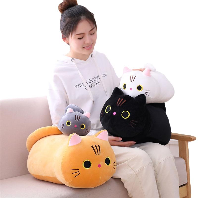 25cm 35cm 50cm Plush Cat Toy White Black Brown Stuffed Animal Cat Plush Throw Pillow Kids Toys Birthday Gift For Children