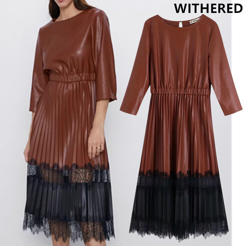 Withered England Elegant Vintage Pleated Lace Splicing Leather Dress Women Vestidos Vestidos De Fiesta De Noche PU Dress Blazer