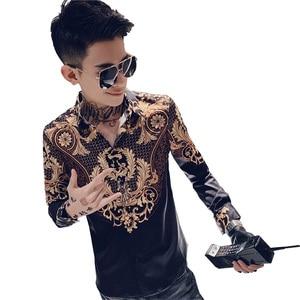 Image 5 - Luxury Print Shirt Men Autumn New Tuxedo Shirt Long Sleeve Streetwear Patchwork Color Mens Casual Shirts Slim Fit chemise homme