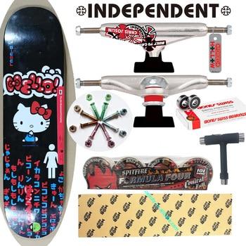 whole kit ONE T TOOL FREE independent skateboard trucks spitfire wheels MOB grip tape girl hello kitty skateboard deck bearings