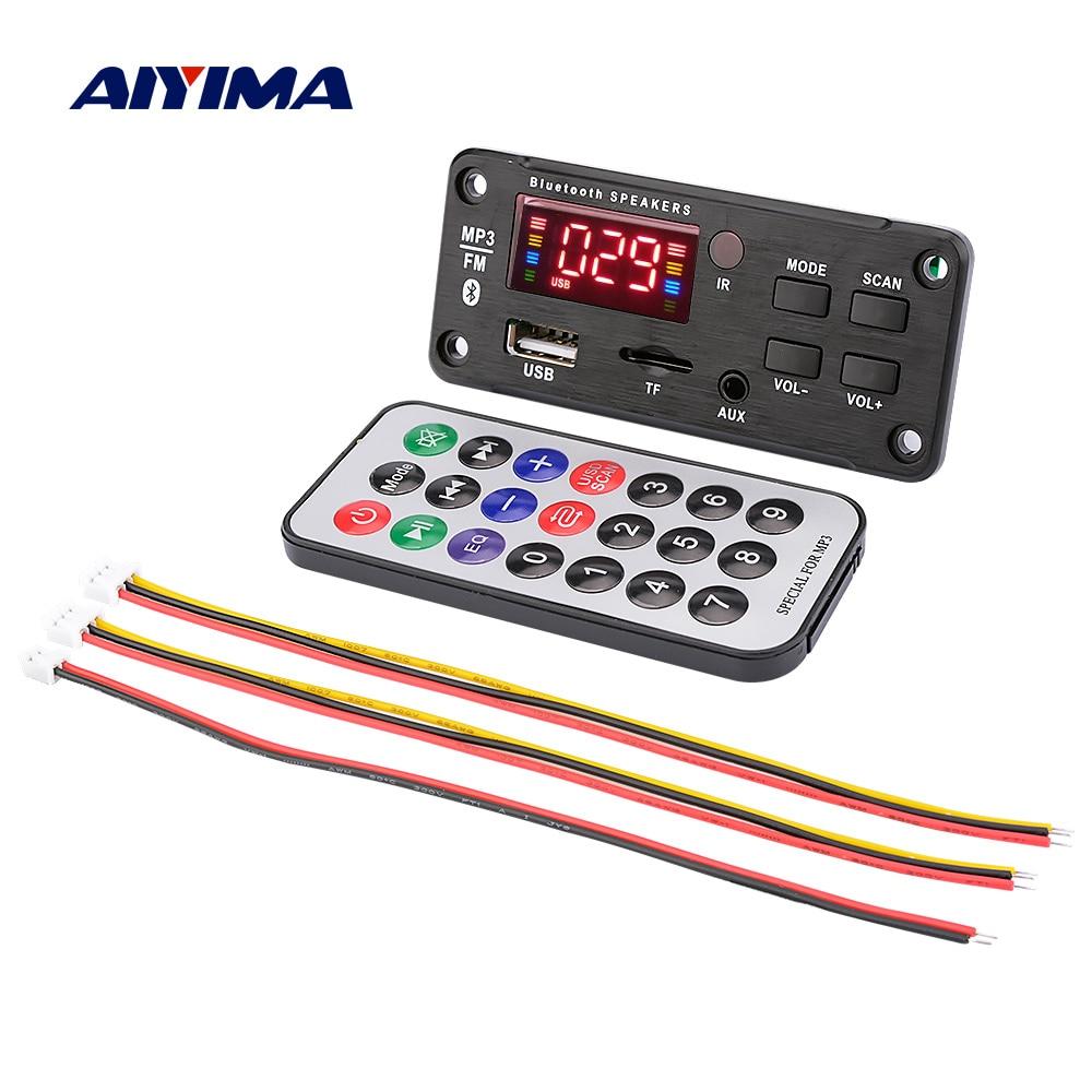 AIYIMA Car Audio Bluetooth MP3 Decoder Board Color Display Bluetooth 5.0 Receiver WMA WAV FLAC APE Decoding USB TF FM LINE IN
