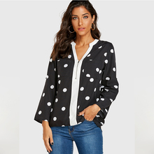 YOINS 2019 Women Blouse Autumn Winter Elegant Zip Long Sleeve Vintage V-neck Polka Dot Causal Work Blouses Bluas Tunic Plus Size plus size polka dot floral tunic tank top