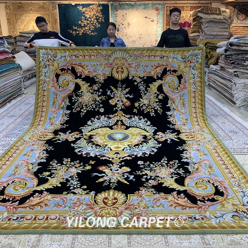 Yilong 9.55'x12.2' Handmade New Zealand Savonnerie Wool Chinese Carpets And Rugs (ZSH013W)