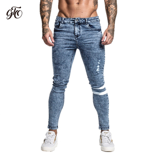 Image 2 - Gingtto Skinny Jeans Men Slim Fit Ripped Mens Jeans Big and Tall Stretch Blue Men Jeans for Men Distressed Elastic Waist zm49