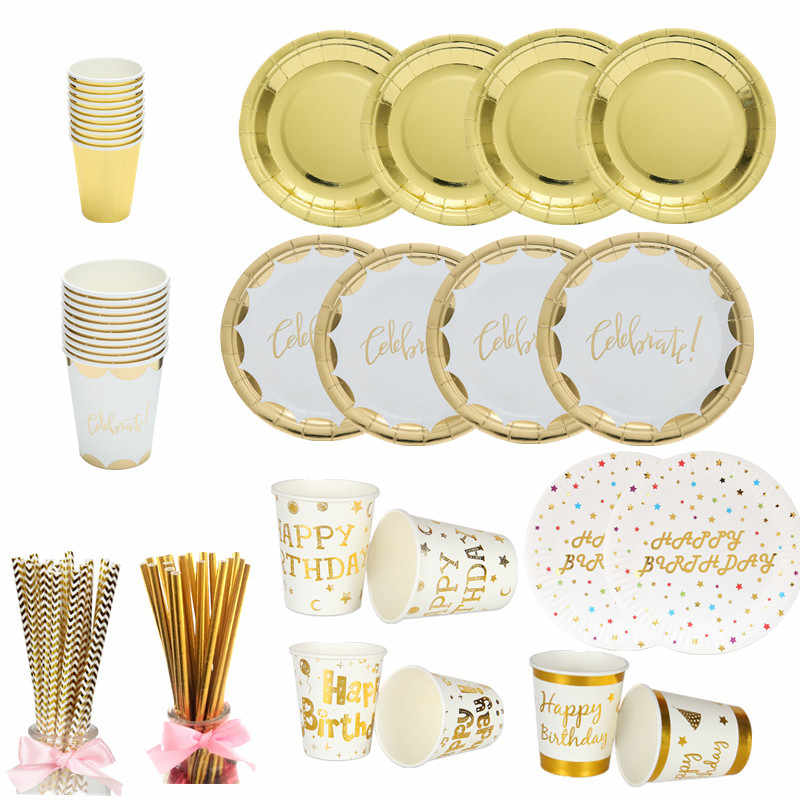 10pcs Gold Party Disposable Tableware Champagne Cup Plate Straws 1st Birthday Party Decor Kids Baby Shower Party Supplies