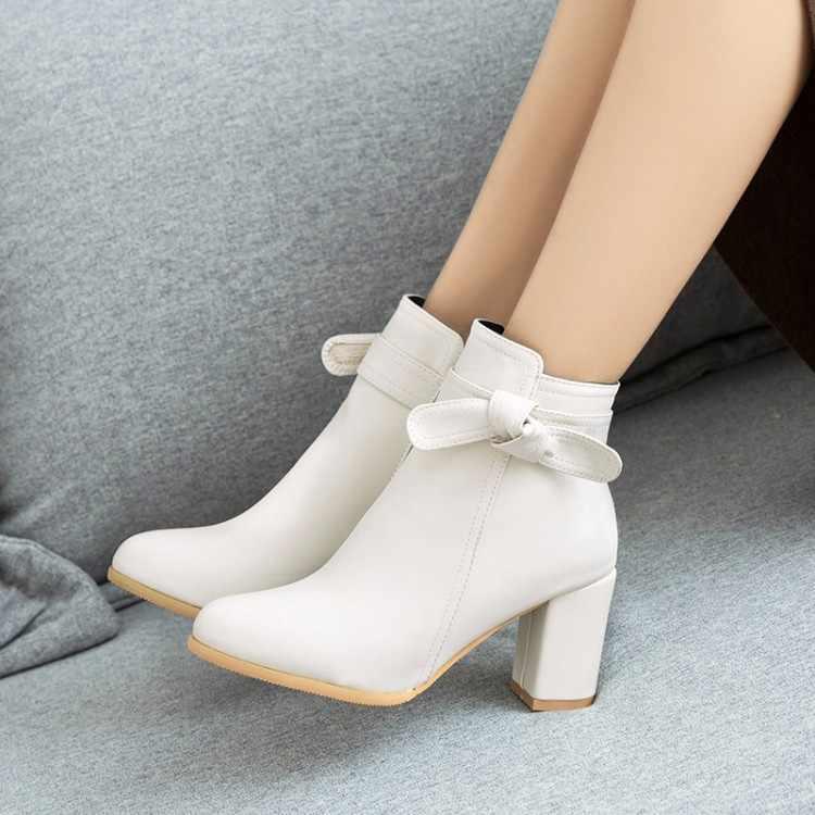 Büyük Boy 9 10 11-17 çizmeler kadın ayakkabıları yarım çizmeler bayanlar çizmeler ayakkabı kadın kış Yay yan fermuar ile yuvarlak kafa