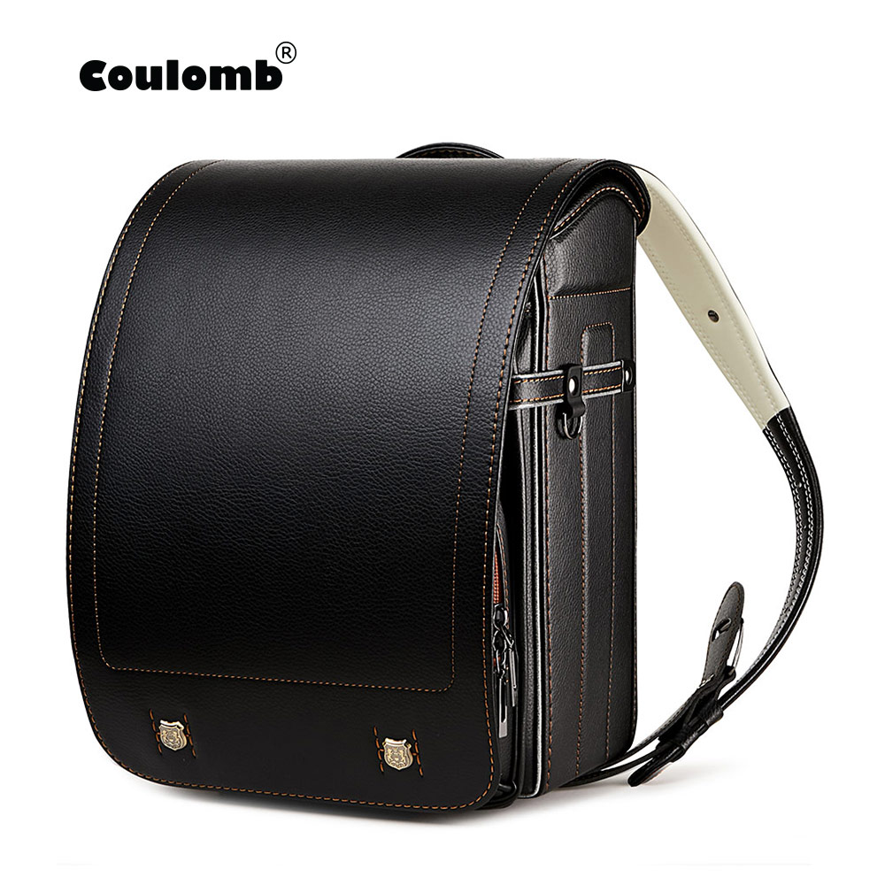 Coulomb Kid Backpack For Luxury School Bag For Boy And Girl Japanese PU Hasp Solid Randoseru Orthopedic Children Backpacks 2020