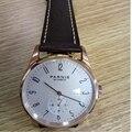 Новый Parnis белый циферблат чехол из розового золота механические Автоматические Мужские часы дайвер минималистичные мужские наручные часы ...